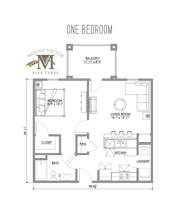 one bedroom with balcony