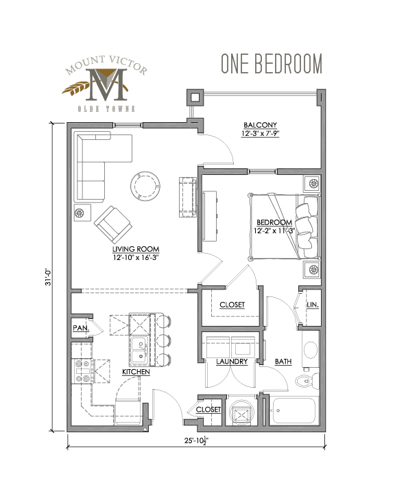 one bedroom with balcony offset right
