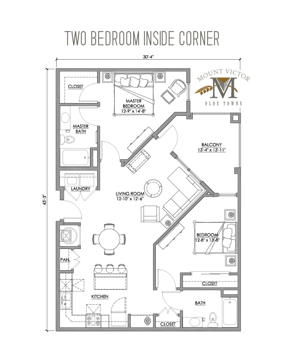 two bedroom inside corner