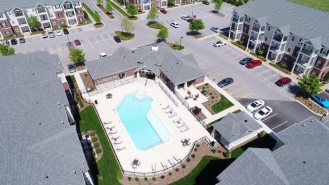 Mount Victor Olde Towne apartments Bowling Green KY aerial view of new pool 2017